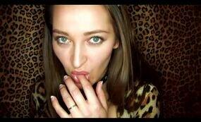 Tiger Brunette Kitten fingering her pussy