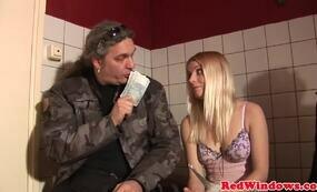 Blonde hooker gets money for sex