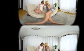Lesbian chicks having fun on couch