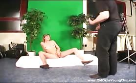 Blonde model banging with old photographer