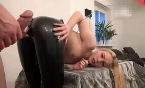 Cumming on ass in latex