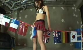 Cute japanese in schoolgirl uniform masturbating with rope