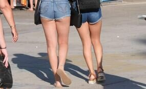 Teen girls wearing shorts