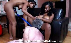 Old man fucks two horny black girls
