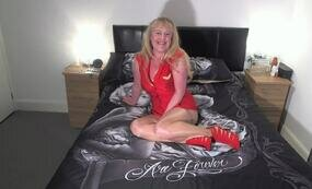 Lady in red on bed