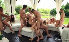 Group fucking in the garden