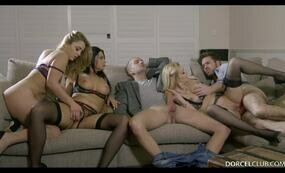 Naughty orgy on couch